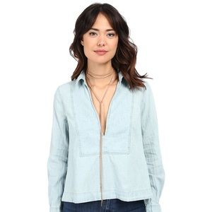 Free People Ready or Not Chambray Top Rumi Wash